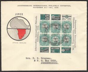 South Africa 1936 KGV ½d JIPEX Opt Sheet Used on Official First Day Cover Pane 8