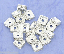 20 Perles intercalaires spacer Carré Strass 6x6mm