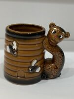 Vintage Japan Bear and Bee Hive Ceramic Mug Cup Bees Bear Handle