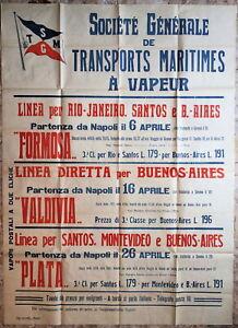 Emigrazione Sud America Manifesto Societè Generale Transports Maritimes 1910 ca