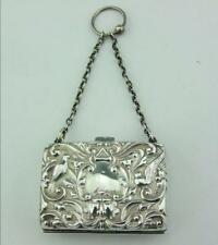 EDWARDIAN SOLID SILVER PURSE WITH HANGING RING