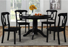 5 Piece Dining Table Set 4 Chairs Round Table Black Wood Kitchen Breakfast Nook