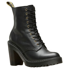 Dr.Martens Kendra Sendal Leather Lace-Up High-Heel Combat Womens Boots