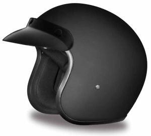 Daytona Cruiser Helmet Dull Black 3/4 Open Face Quick Release DOT 2XS-4XL