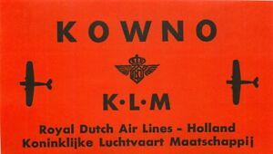 KLM Royal Dutch Airlines ~KOWNO~ Orig. Destination Luggage Label, 1950