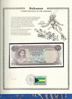Bahamas 1/2 Dollar 1968 P 26a UNC FDI UN FLAG STAMP Prefix C
