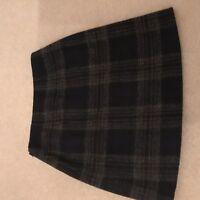Jigsaw pleat mini skirt, size 8, wool, blue plaid