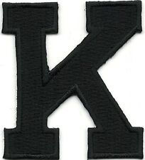 """1 7/8"""" Tall Black Monogram Block letter K Embroidery Patch"""