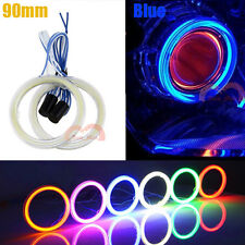 2x Motorcycle Car 90mm Blue Cob Angel Eye 108SMD Halo Ring Light With Lampshades