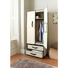 Deluxe Double Canvas Wardrobe WITH OPENING DOORS DRAWER CREAM AND GREY