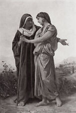 """1800s Elizabeth Jane GARDNER Antique Print """"Ruth and  Naomi"""" SIGNED Framed COA"""