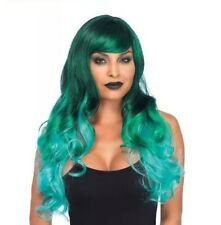 NWT Leg Avenue Hot Topic Green Jewel Ombre Long Wavy Adult Costume Wig