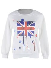 Women S/M Fit White Paint Ball Splatter Style Union Jack Pullover Sweater