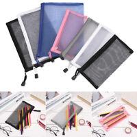 Coin Purse Cosmetic Storage Transparent Grid Zipper Pencil Case Mesh Pen Bag