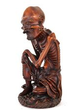 Boxwood Carving of Emaciated Lohan Buddha Arhat Huangyang Wood Chinese 19th C.