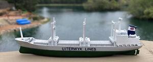 "Uiterwyk Lines Die Cast Metal Model Ship Freighter Mfg by Castco England 5.75"""