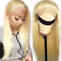 Glueless Straight Lace Front Wigs Malaysian Remy Human Hair Wig Natural Blonde Z
