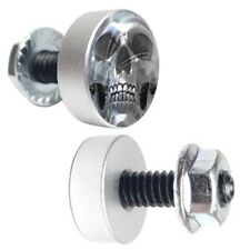 "2 Silver Motorcycle ""Grey Skull"" License Plate Frame Fasteners Tag Bolt Screws"