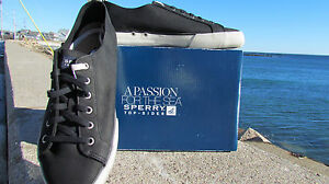 NEW 10.5 M Sperry Top Sider Cadet mens leather black nubuck white sneakers sharp