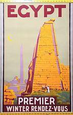 ORIGINAL 1930 Vintage Travel Poster EGYPT Karnak Temples Pyramid Pharaon Statue
