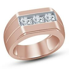 Three Stone Diamond Engagement Fashion Band Ring New listing Men's 10K Rose Gold Over 0.75Ct