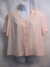 Kathy Che Pink V Neck Embroidered Button Down Blouse Size 14P