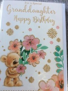 Happy Birthday For A Special Granddaughter.Pretty Teddy & Butterfly Design Card.