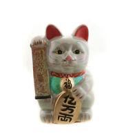 Enorme Hucha Gato Japonés Amuleto de la Suerte Gris Prosperidad Maneki Neko 30cm