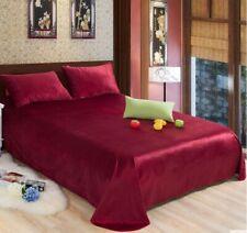 Red Fleece Velvet Soft King Bed Sheet Cover Coverlet Bedding 2.4*2.6M .