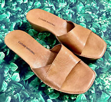 $650 Costume National Italy Women's Size 37 7 Tan Leather Wedge Slides Sandals