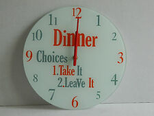 """GLASS  WALL CLOCK """"DINNER CHOICES""""  NOVELTY GIFT ITEM"""