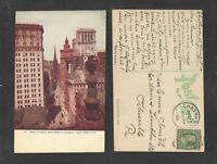 1909 WALL STREET AND TRINITY CHURCH NEW YORK CITY NY POSTCARD