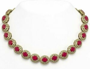 9 Ct Ruby & Sim Diamond Rounds Bride's Tennis Necklace 14K Yellow Gold FN Silver