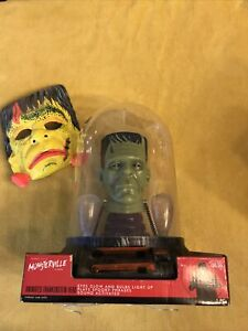 Monsterville Animated Frankenstein Head New in Package Still Works +Vintage Mask