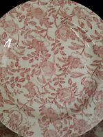 X 2 Churchill Pink Peony  chintz Floral SALAD/ DESSERT Plates NWOT  Mint!
