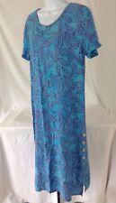 Batik Bali Blue Floral Indonesia Polynesian Short Sleeve Maxi Long Sun Dress~S