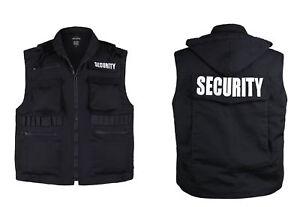 Mens Womens Army Style SECURITY Uniform Vest outwear - Black -Size S, M,L,XL,2XL