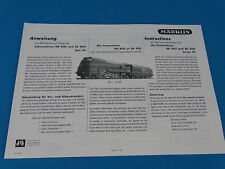 Marklin SK 800 HR 800 Locomotive with Tender Replica booklet 0350