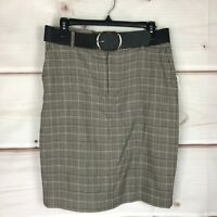 Bar III Belted Plaid Pencil Skirt Womens Size 8 Stretch Above Knee Suit Separate