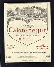 SAINT ESTEPHE 3EME GCC ETIQUETTE CHATEAU CALON SEGUR 1992 75 CL       §25/02§