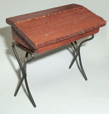 "Vintage Antique Miniature Wooden & Metal Legs School Desk 2-3/4"" X 2-3/4"""