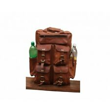 Women's Very Large REAL VINTAGE Leather Rucksack Shoulder Backpack Travel Bag
