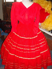 SQUARE DANCE RED BLOUSE & RED W/GOLD POLKA DOT PRAIRIE SKIRT--- SZ. SM.