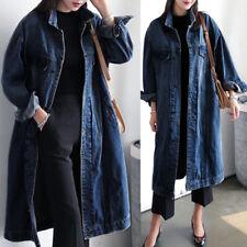 Plus Women Denim Long Coat Casual Jean Jacket Ladies Winter Autumn Outerwear