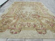 Vintage Hand Made French Design Wool Green Gold Original Aubusson 500X355cm