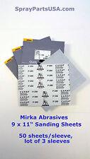 """Mirka Abrasives 17-101-280 9 x 11"""" Carat sandpaper, 50/slv, lot of 3 sleeves"""