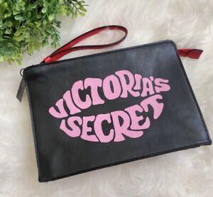 "VICTORIA'S SECRET Pink Red Black ""JUST ADD LIPSTICK"" MAKE UP Clutch Bag NEW"