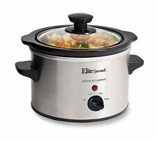 Elite Gourmet MST-250XS 1.5 Quart Slow Cooker, Silver (Stainless Steel Finish)