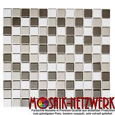 Mosaik matt weißgrau Mix Keramikmosaik Fliesenspiegel Wand Boden Art:18-0212|1qm