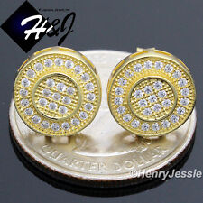 925 STERLING SILVER 11MM LAB DIAMOND ICED OUT BLING GOLD ROUND STUD EARRING*E59